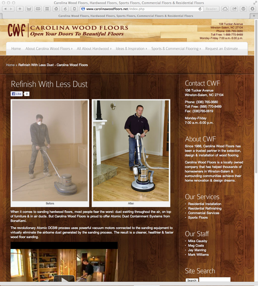 Carolina Wood Floors, a client of Vela Agency in Winston-Salem, NC, was in  need of a new website. We worked to transition to a modern platform that  would ... - Carolina Wood Floors - Kevin ONeill (.us)